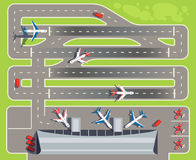 Airport with passenger terminal, airplanes, helicopters top view vector illustration Royalty Free Stock Photo