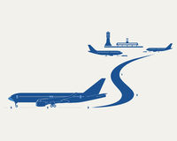 Airport. Passenger terminal, control tower and silhouettes of planes Royalty Free Stock Photos