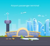 Airport passenger terminal, runway with airplanes, airport building, service customers. Stock Photos