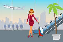 Airport passenger terminal and waiting room international arrival and departures Royalty Free Stock Photos