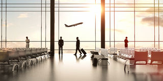 Airport with people. And airliner in sky stock images
