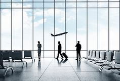 Airport with people Stock Images