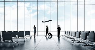 Airport with people. And airliner in sky royalty free stock photo
