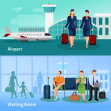 Airport People Flat Compositions Stock Images