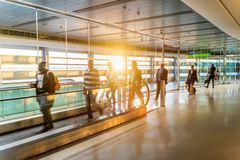 Airport, people rushing for their flights, long corridor, Dublin, Sunrise royalty free stock photos