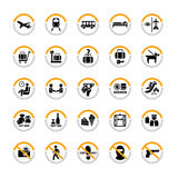 Airport pictograms. Airport and tourism pictogram set in semicircles Royalty Free Stock Photo