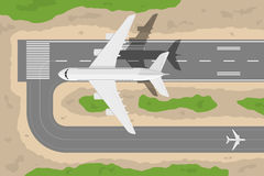 Airport. Picture of a civilian plane taking-off fromm landing strip, flat style illustration Stock Images