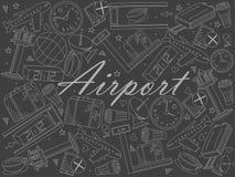 Airport piece of chalk line art design raster illustration royalty free illustration