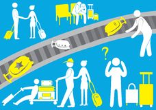The airport, the pilot, an immigrant, a tourist visitor, passengers, baggage, flight, icon, family. Vector illustration. The airport, the pilot, an immigrant, a Royalty Free Stock Photography