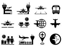 Airport with plane icons set Royalty Free Stock Photos