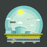 Airport with planes or aircrafts in flat design. Style. Transport air travel concept background. Terminal and airplane transport, travel vector illustration Royalty Free Stock Photo