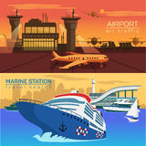 Airport, planes and sea or ocean with ships Stock Photography