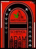 Airport Poster Amsterdam, Stock Vector Illustration: T-Shirt Design / Print Design / International Airport. Fashion style royalty free illustration