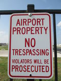 Airport Propery No Trespassing Sign Stock Photos