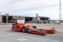 Airport pushback truck stock photo