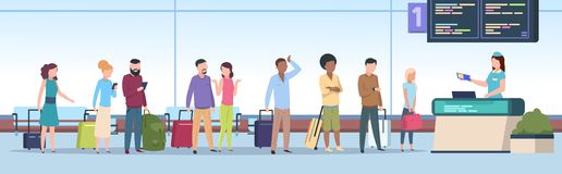 Airport queue. Airplane passengers check registration airport terminal. Traveling people, baggage waiting in gate. Airport queue. Airplane passengers check vector illustration