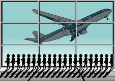 Airport and queue. Group of people in the airport vector illustration
