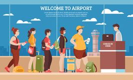 Airport Queue Illustration Royalty Free Stock Photos