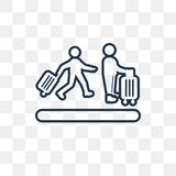 Airport Queue vector icon isolated on transparent background, li royalty free illustration