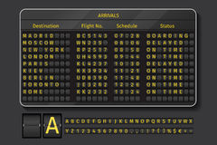 Airport or railway vector scoreboard. Airport or railway scoreboard. Display airport, info with schedule time, vector illustration Royalty Free Stock Photo