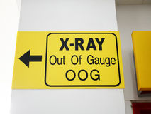 Airport X-Ray Out of Gauge Signage royalty free stock images