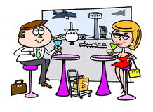 Airport restaurant cartoon Royalty Free Stock Photo