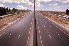 Airport road in Amman. Scenic view of Airport road receding into distance, Amman, Jordan Stock Image