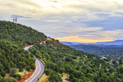 Airport road in Sedona, USA. View of the airport road at sunset Sedona is an Arizona desert town near Flagstaff that's surrounded by red-rock buttes royalty free stock image
