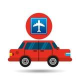 Airport road sign sedan red Royalty Free Stock Photo
