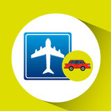 Airport road sign sedan red Royalty Free Stock Photography