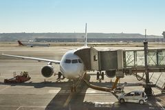 Airport runaway area with aircrafts ready to flight. Transport Stock Photography