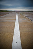 Airport runway. After rainfall. White line on runway Stock Images