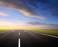 Airport runway. At dusk or dawn, background Royalty Free Stock Photography