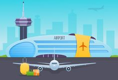 Airport, runway with airplanes. Unloading passenger luggage, suitcases from cabin. Royalty Free Stock Image
