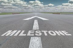 Airport runway arrow milestone royalty free stock images