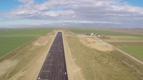 Airport runway construction, aerial view stock footage
