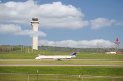 Airport Runway and Control Tower Royalty Free Stock Photos