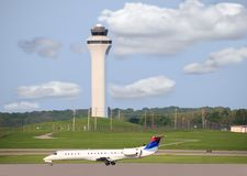 Airport Runway and Control Tower Royalty Free Stock Photo