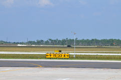 Airport Runway directional signs. Indicate the way to runways stock images