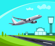 Airport with Runway and flying Plane Concept Illustration. Template for Infographic. Eps 10 Stock Image