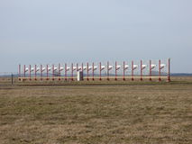 Airport runway glidepath antenna Royalty Free Stock Images