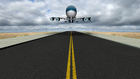 Airport Runway Jet Travel Vacation. A jumbo jet is landing on an airport runway, carrying business travel people and tourists who are on vacation or holiday Royalty Free Stock Images