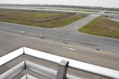 Airport runway and taxiway. Aerial view of major airport runway and taxiway Stock Image