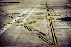 Airport runway track for planes take off Stock Image