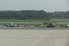 Airport runway with work in progress Royalty Free Stock Photography