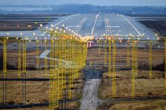 Airport. And runways lights on Royalty Free Stock Photography
