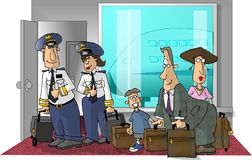 Airport scene. This illustration that I created depicts a family and 2 airline pilots at an airport terminal Royalty Free Stock Images