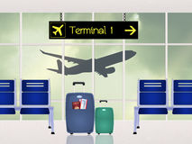 Airport scene. Cute illustration of airport scene Royalty Free Stock Photography