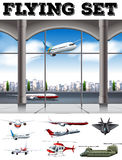 Airport scene with many airplanes. Illustration Royalty Free Stock Photos