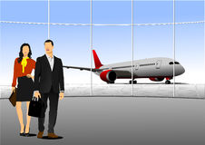 Airport scene . Vector illustration for designers Royalty Free Stock Photos